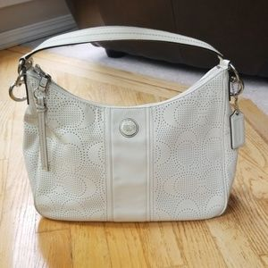 Coach   Perforated Leather White Hobo Bag